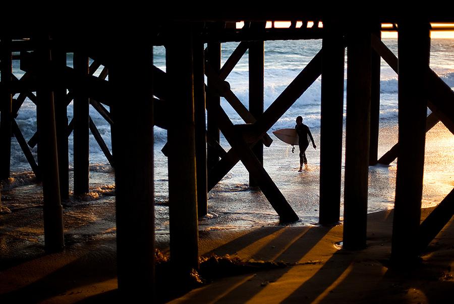 Surfer at the San Clemente Pier